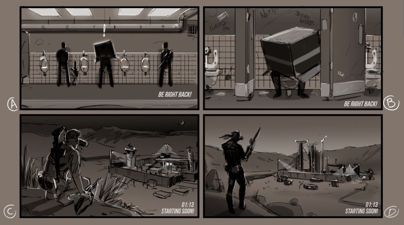 The four sketches got green lit. This one is (C). You can see how much it changed in the process.