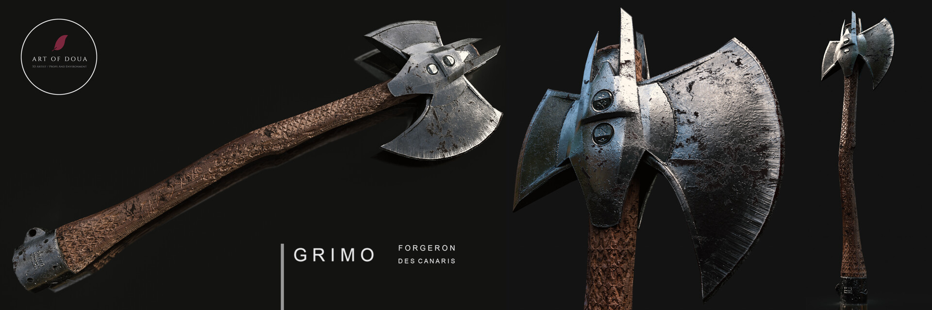 This ax was crafted by GRIMO the best blacksmith from the Canaris Island. Later the ax was collected in  battle by Captain Gabriela .