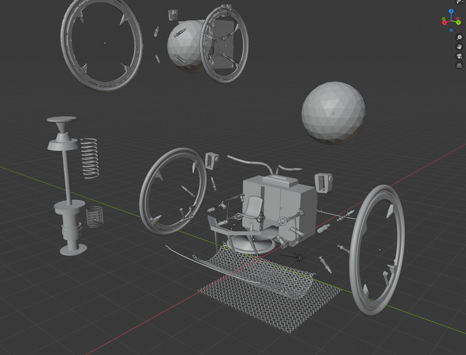 WIP Blender Garage Explode mod of my mechanical spare parts if I mess with my final scene