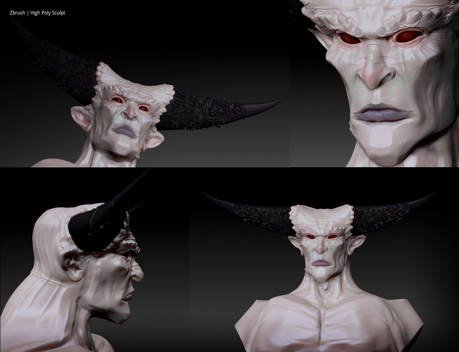 Some views of the high poly sculpt.