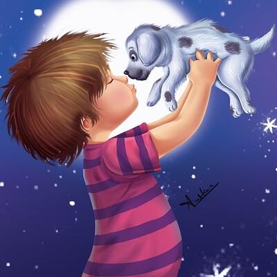 Amit kumar child and dog