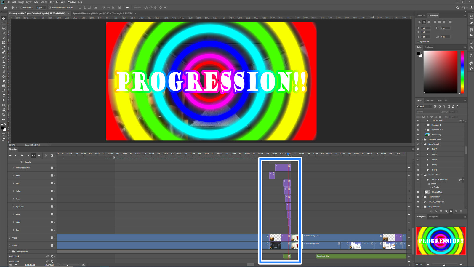 """The """"Progression #1"""" visual effect within Photoshop video editor"""