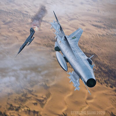 Sterling saini render mig 21f f 104 shootdown no background side view ppscd 2