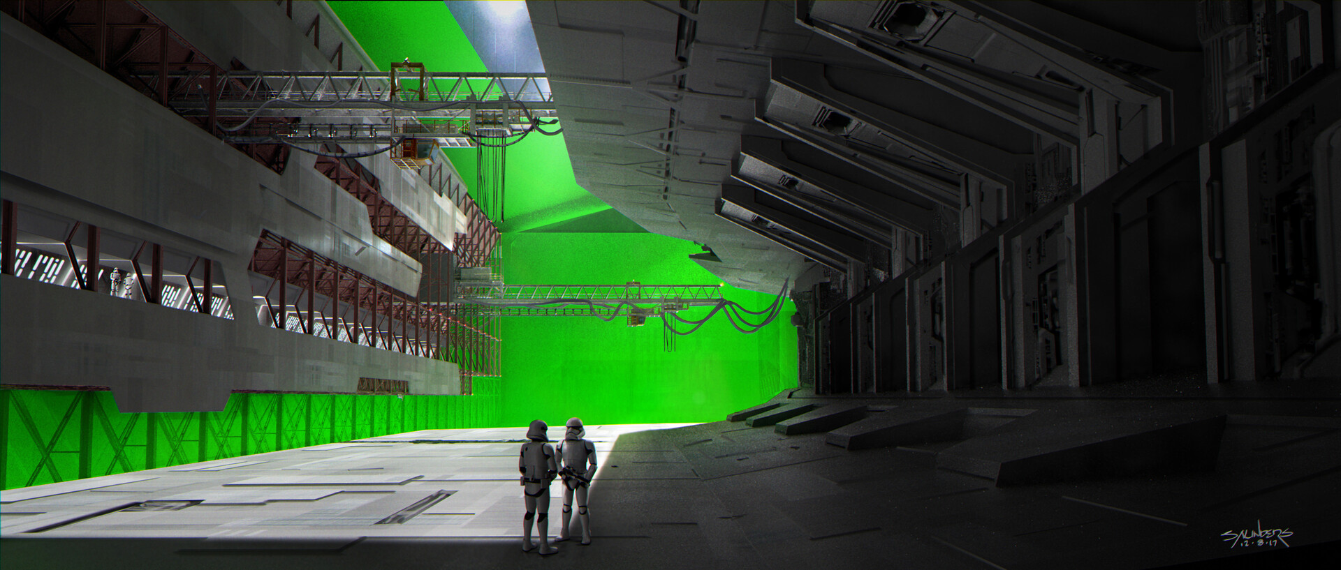 The same shot rendered to simulate the actual set on the green-screened Cardington stage.