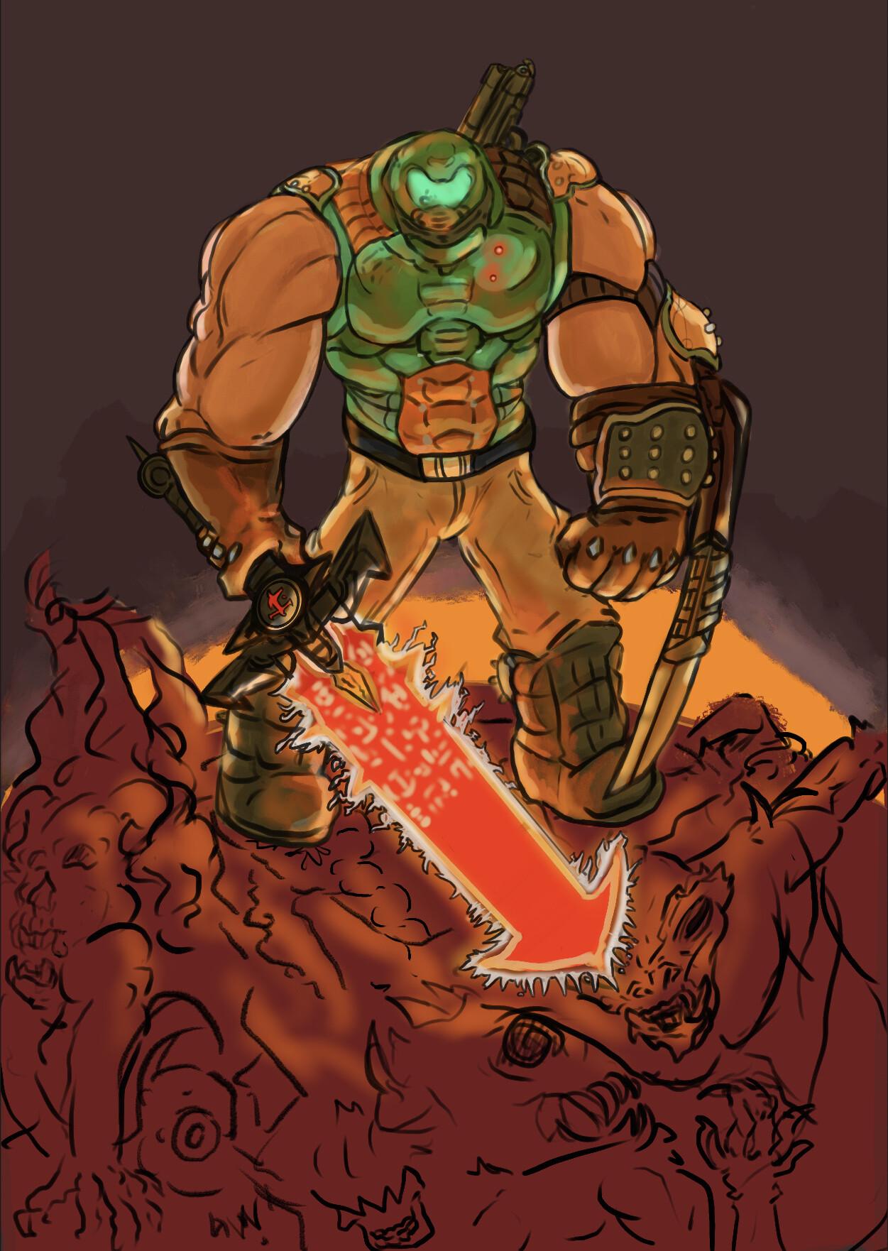 Artstation Doom Guy Fan Art With Eternal Style Frej Ravn