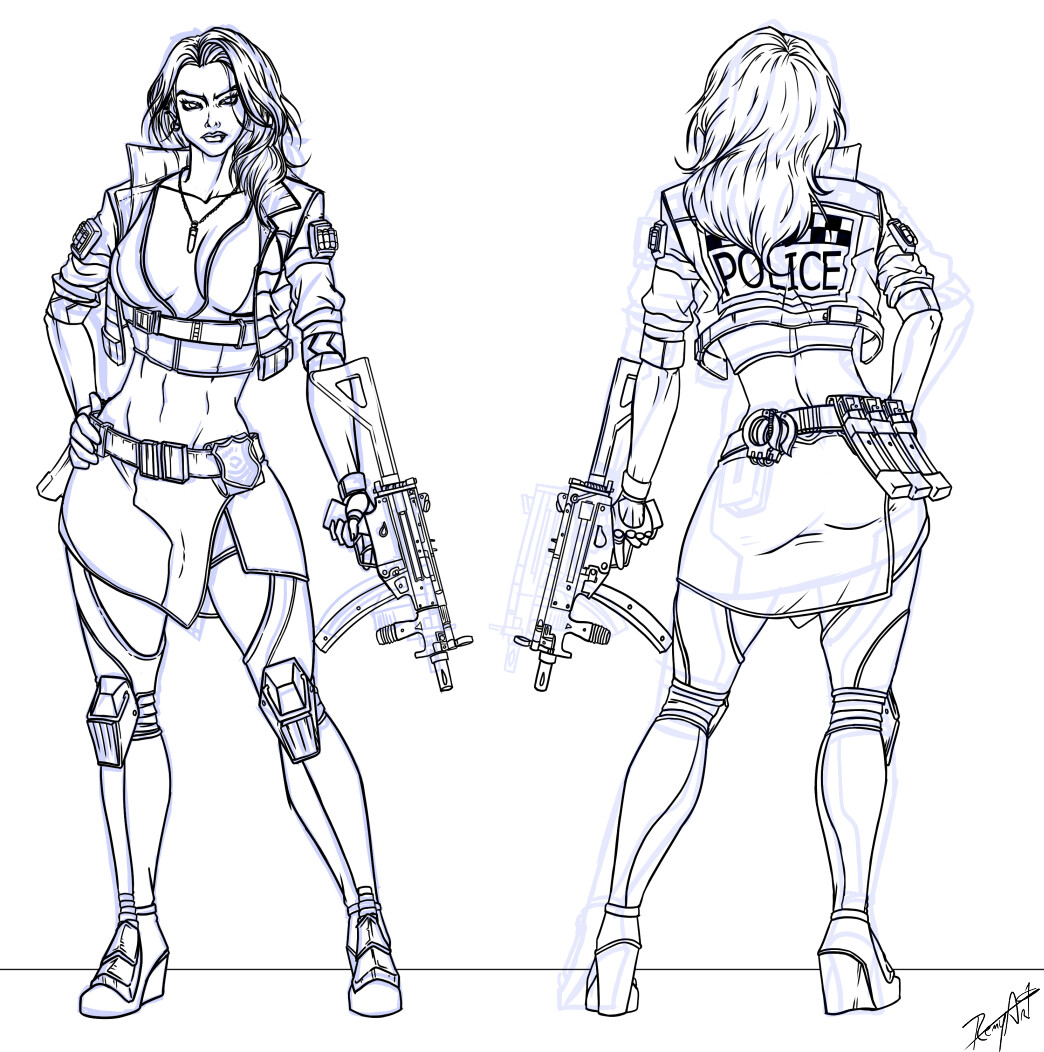 First design lineart. The skirt was removed an replaced by leather pants on the final design.