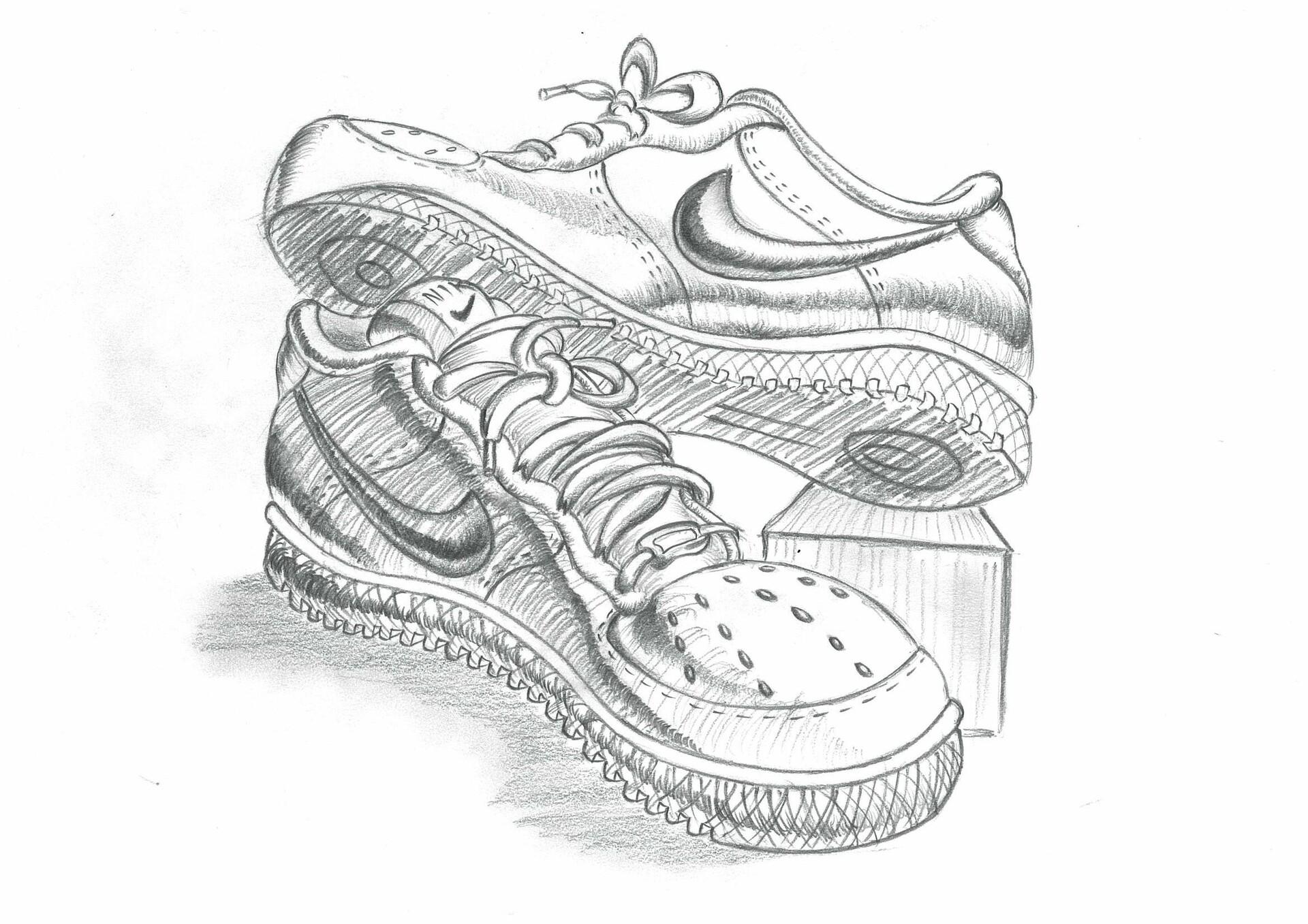 Nike shoes Pencil drawing, Thaddeus Soh