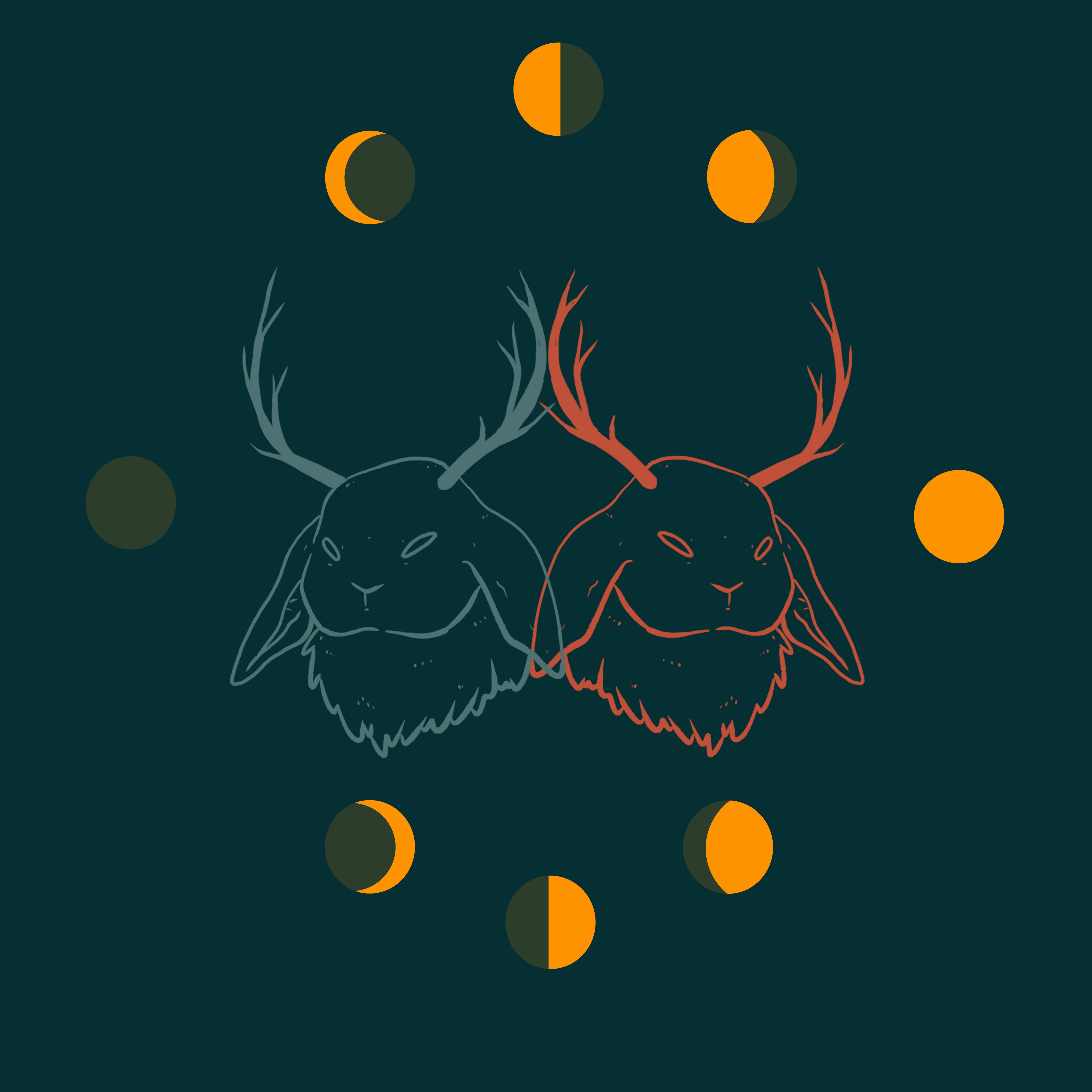 Here's another piece from my fmp! It's a design i did for a square print of a jackalope, plus some more moon phases for funzies and to connect the more 'witchy' side of my project to the cryptids.