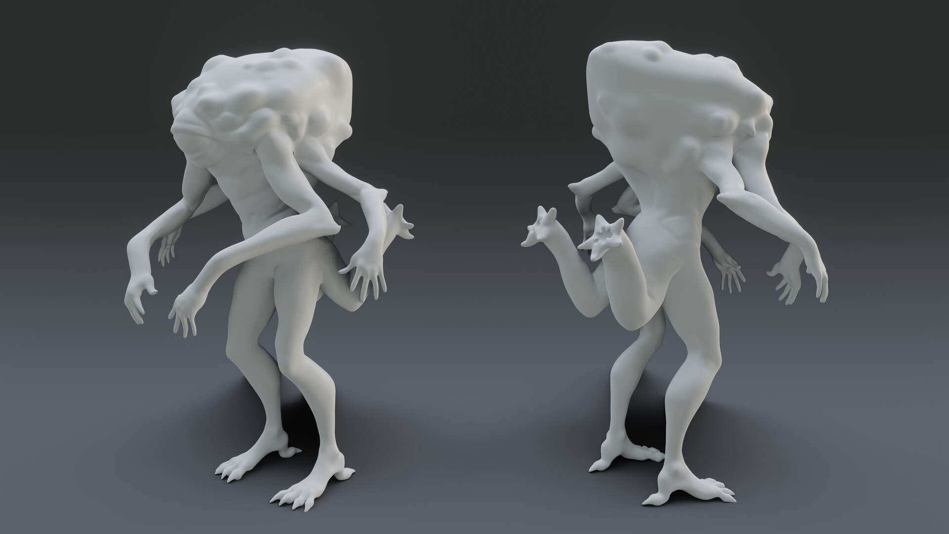 Basic Zbrush model and render I used to paint over