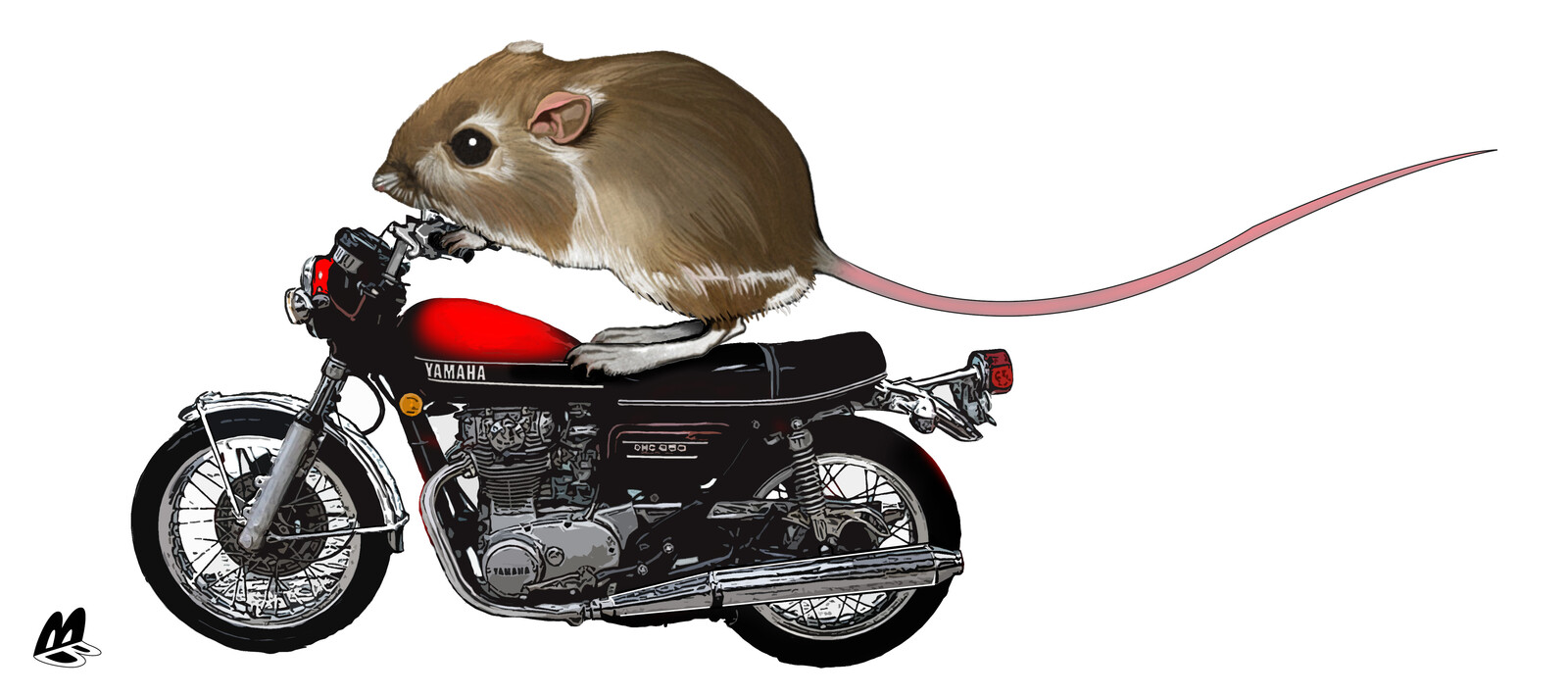 A Mouse on a motorcycle