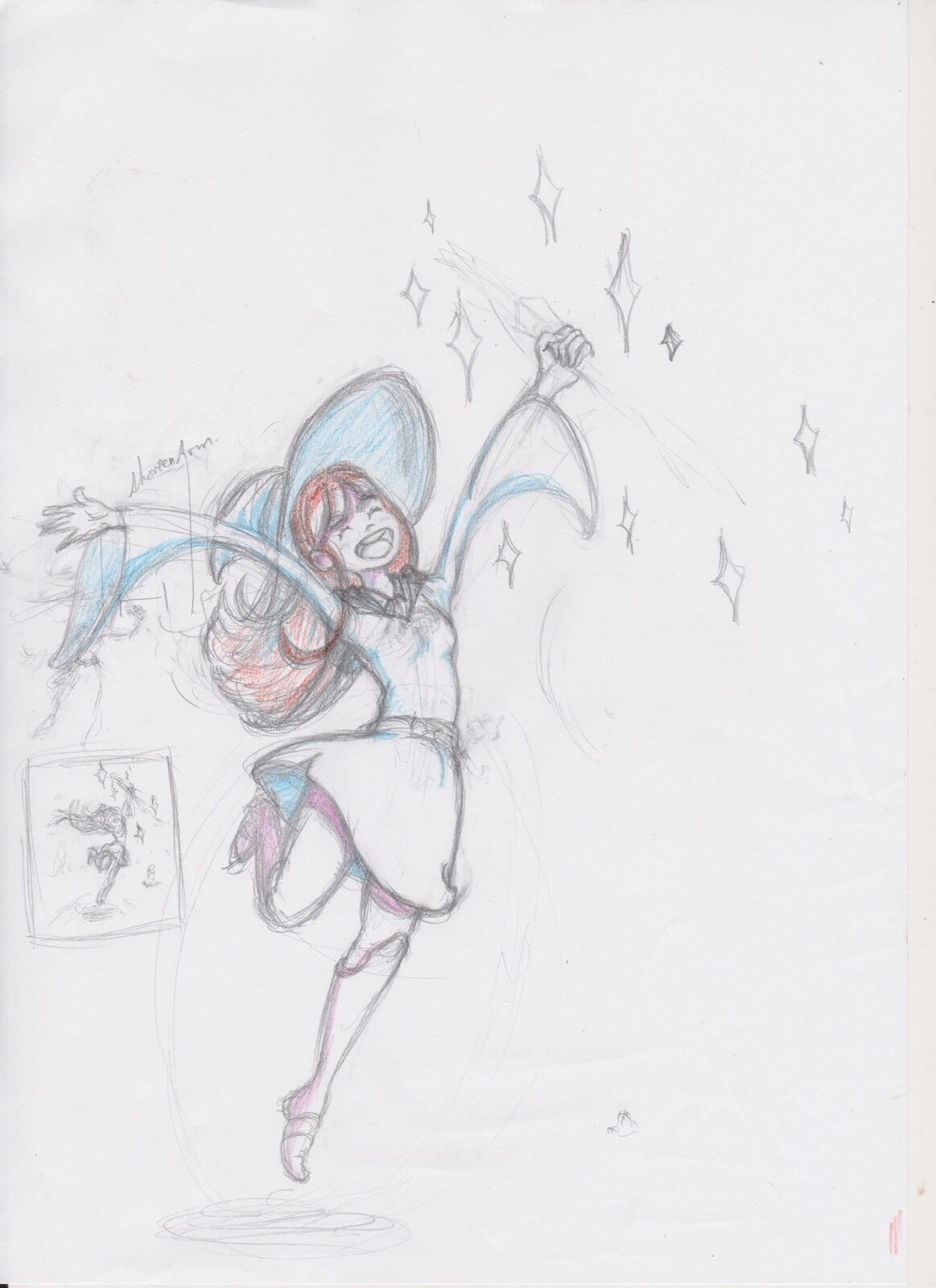 Original sketch on a piece of copy paper