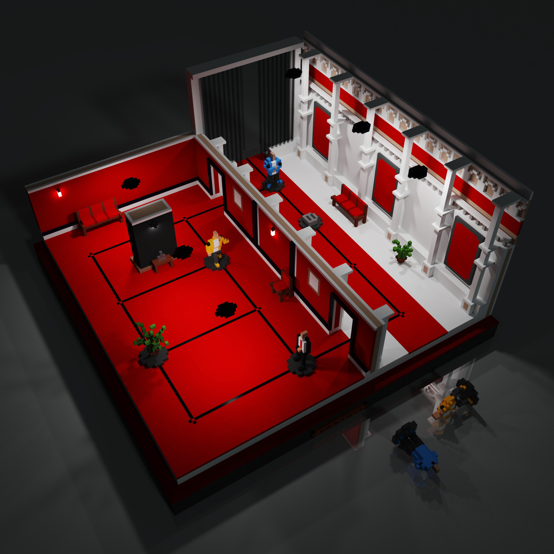 Curtains down MagicaVoxel render - May 2020