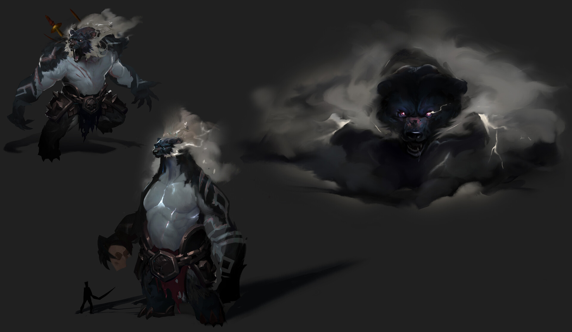 Explorations for body types and cloud/storm around him.
