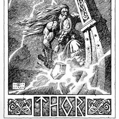 Milivoj ceran mceran thor in drakkar 17x11 commission for douglas dreier