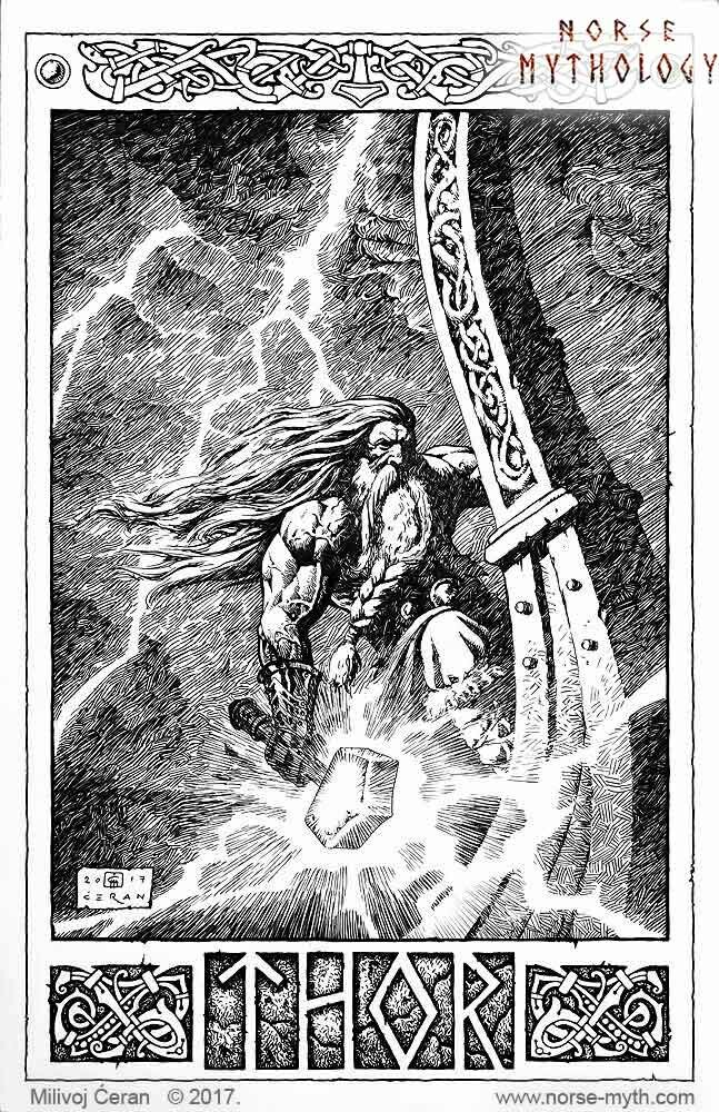 "Thor in drakkar"" © Milivoj Ćeran 2017. - 17 x 11 inches - archival ink on paper  Full page illustration for the upcoming ""Gate to Valhalla"" book by Milivoj Ćeran."