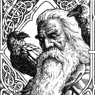 Milivoj ceran mceran odin with hugin and munin commission 11x8 for thomas lindinger