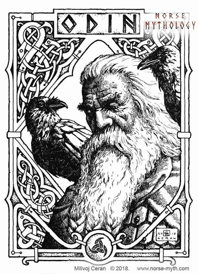 """Odin"", © Milivoj Ćeran 2018. - 11x8 inches  - archival ink on paper  Full page illustration for the upcoming ""Gate to Valhalla"" book by Milivoj Ćeran."