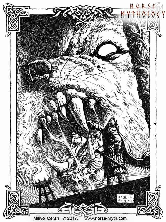 """Tyr and Fenrir"", © Milivoj Ćeran 2017. - 12x9 in - archival ink on paper  Full page illustration for the upcoming ""Gate to Valhalla"" book by Milivoj Ćeran."