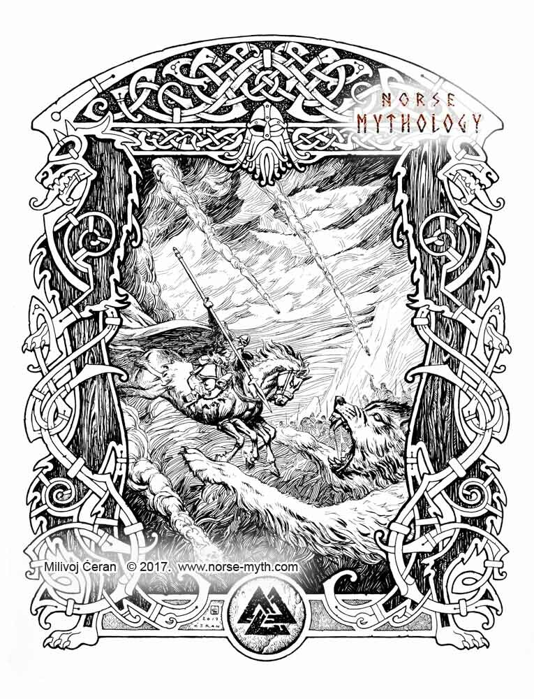 """Odin fights Fenrir"", by Milivoj Ćeran 2017. - 17x13 inches -archival ink on paper  Full page illustration for the upcoming ""Gate to Valhalla"" book by Milivoj Ćeran."