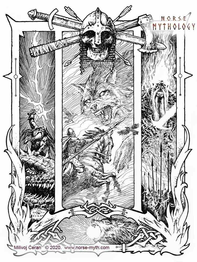 """""""Ragnarök"""" © Milivoj Ćeran 2020. - 12x9 inches - archival ink on paper  Full page illustration for the upcoming """"Gate to Valhalla"""" book by Milivoj Ćeran."""