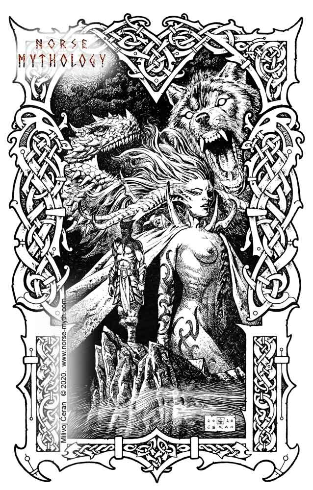 """""""Loki and his Offspring"""" © Milivoj Ćeran 2020. - 17 x 11 inches - archival ink on paper  Full page illustration for the upcoming """"Gate to Valhalla"""" book by Milivoj Ćeran."""