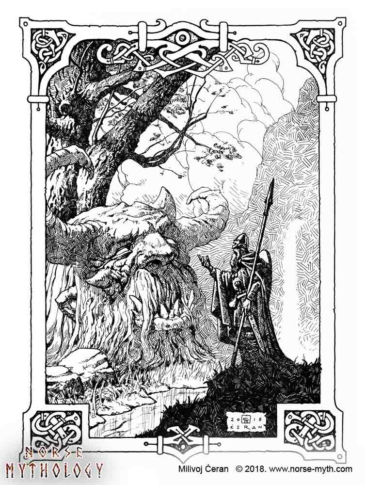 """""""Odin and Mimir's head"""" © Milivoj Ćeran 2018. - 12x9 inches -archival ink on paper  Full page illustration for the upcoming """"Gate to Valhalla"""" book by Milivoj Ćeran."""