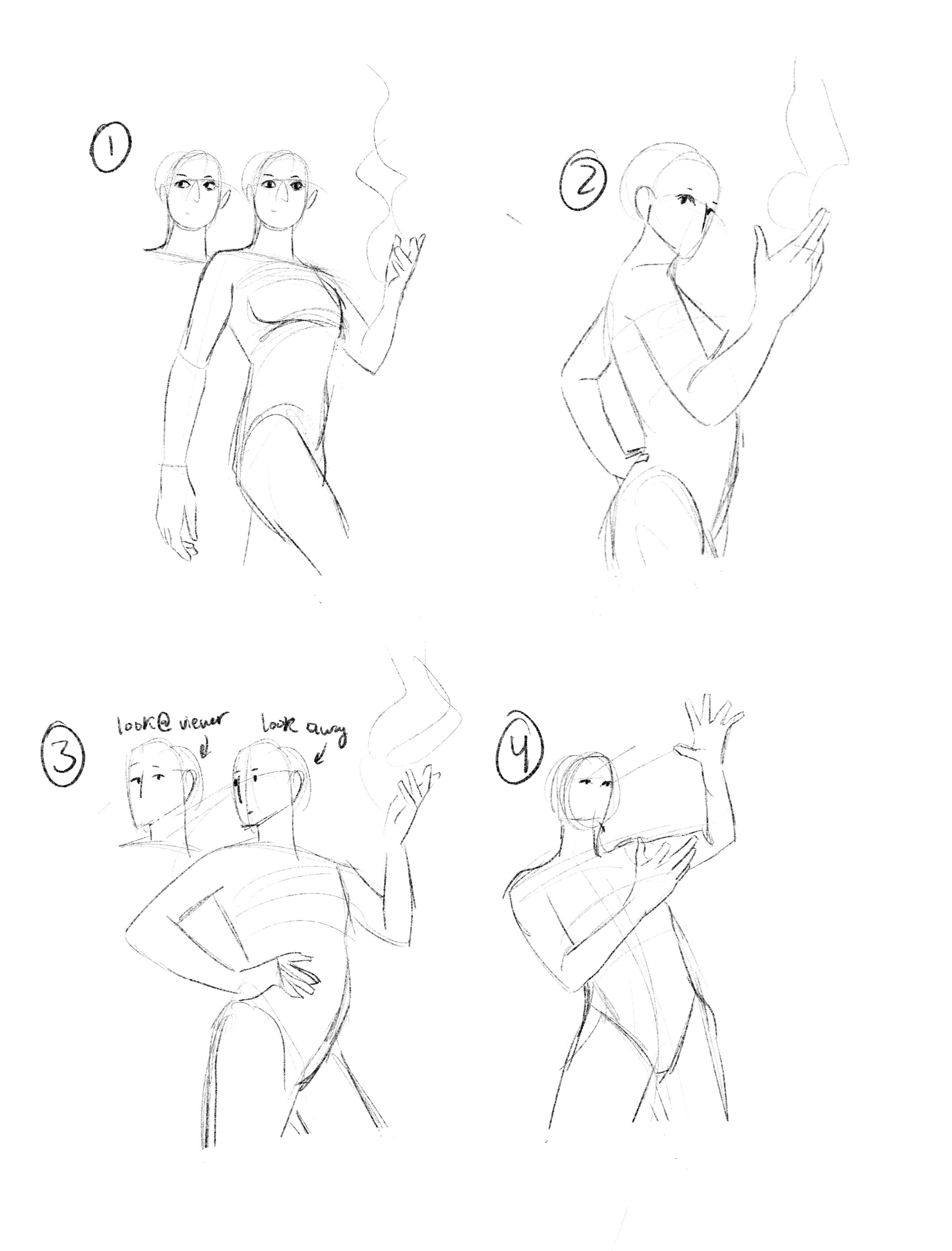 4 different poses I sent to the client. He ended up selecting number 2