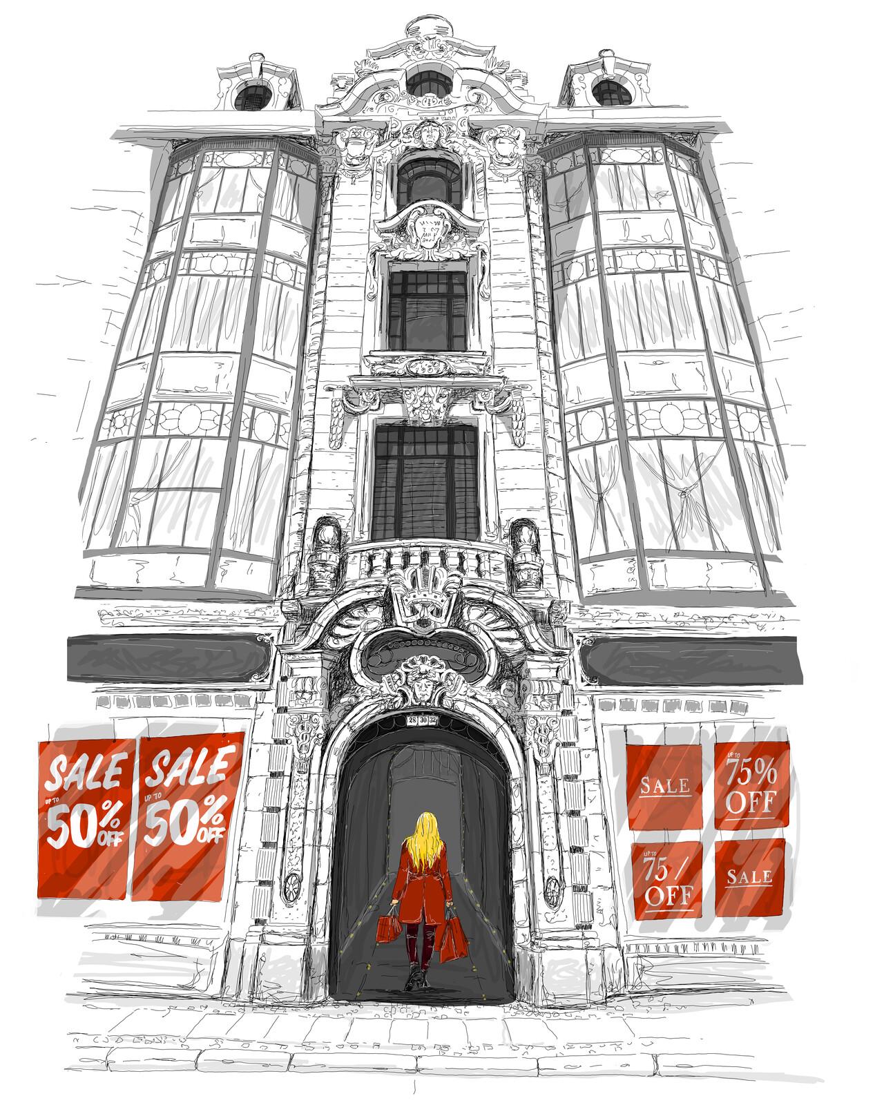 Final Sale, urban sketching