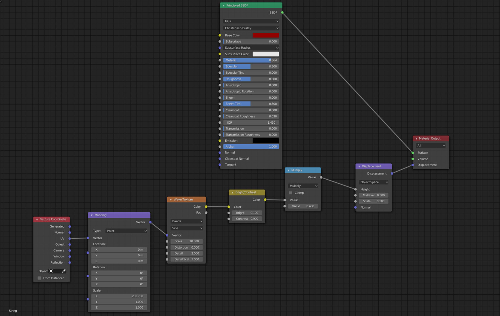 The node graph for the strings (unfortunately a bit hard to see in the final render
