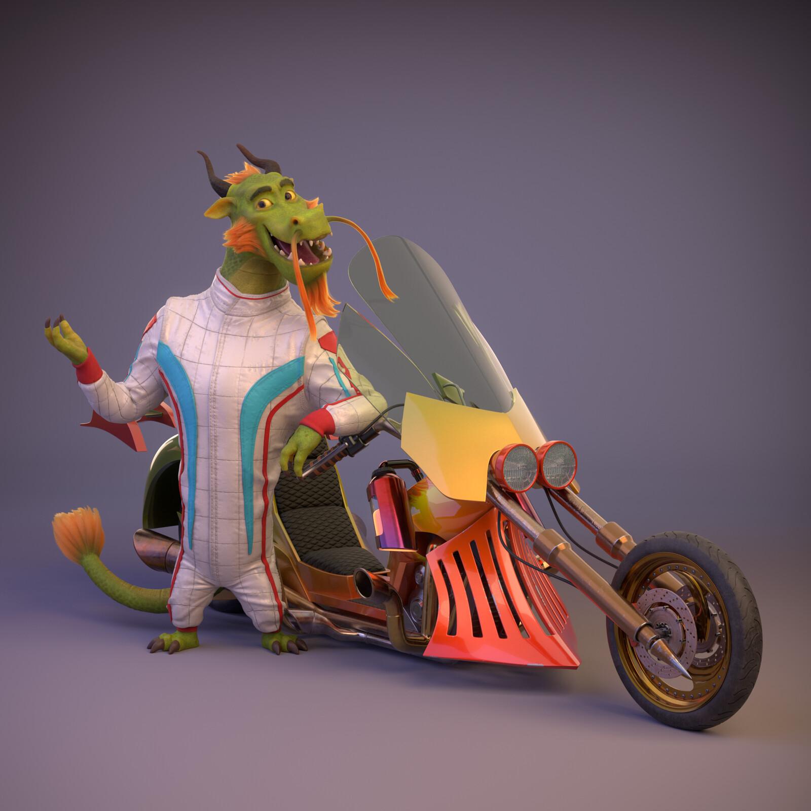 Dragon and vehicle
