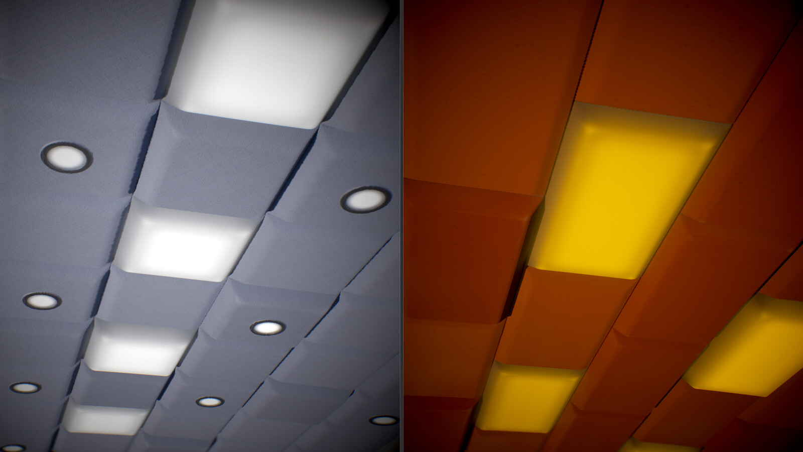 A blocky type of ceiling decor. Found something like this in a few conference rooms.