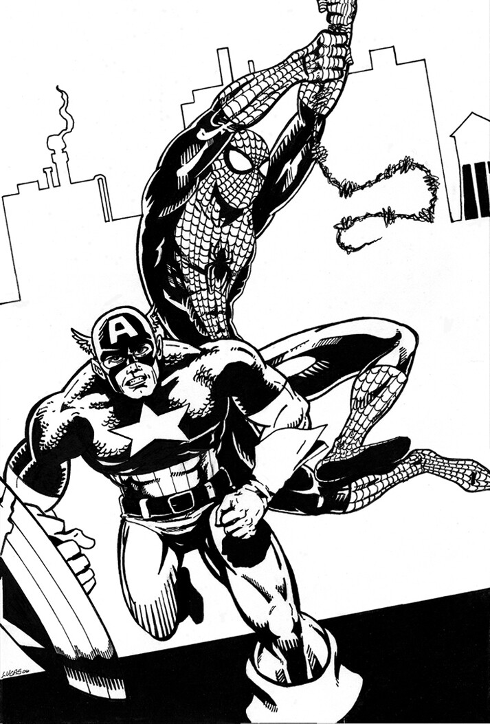 Cap and Spiderman traditional comic style commission