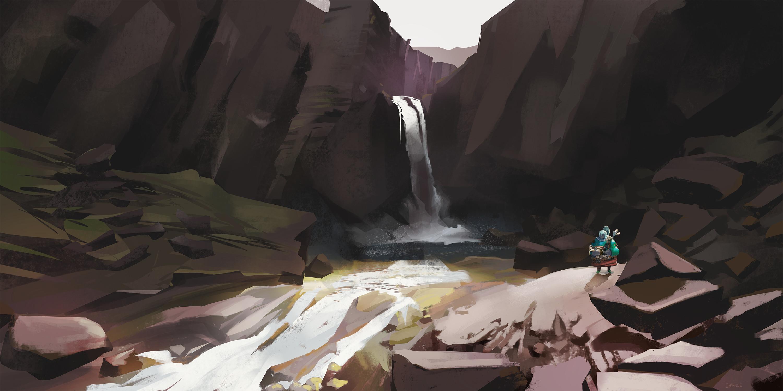 Landscape study of Folaldafoss
