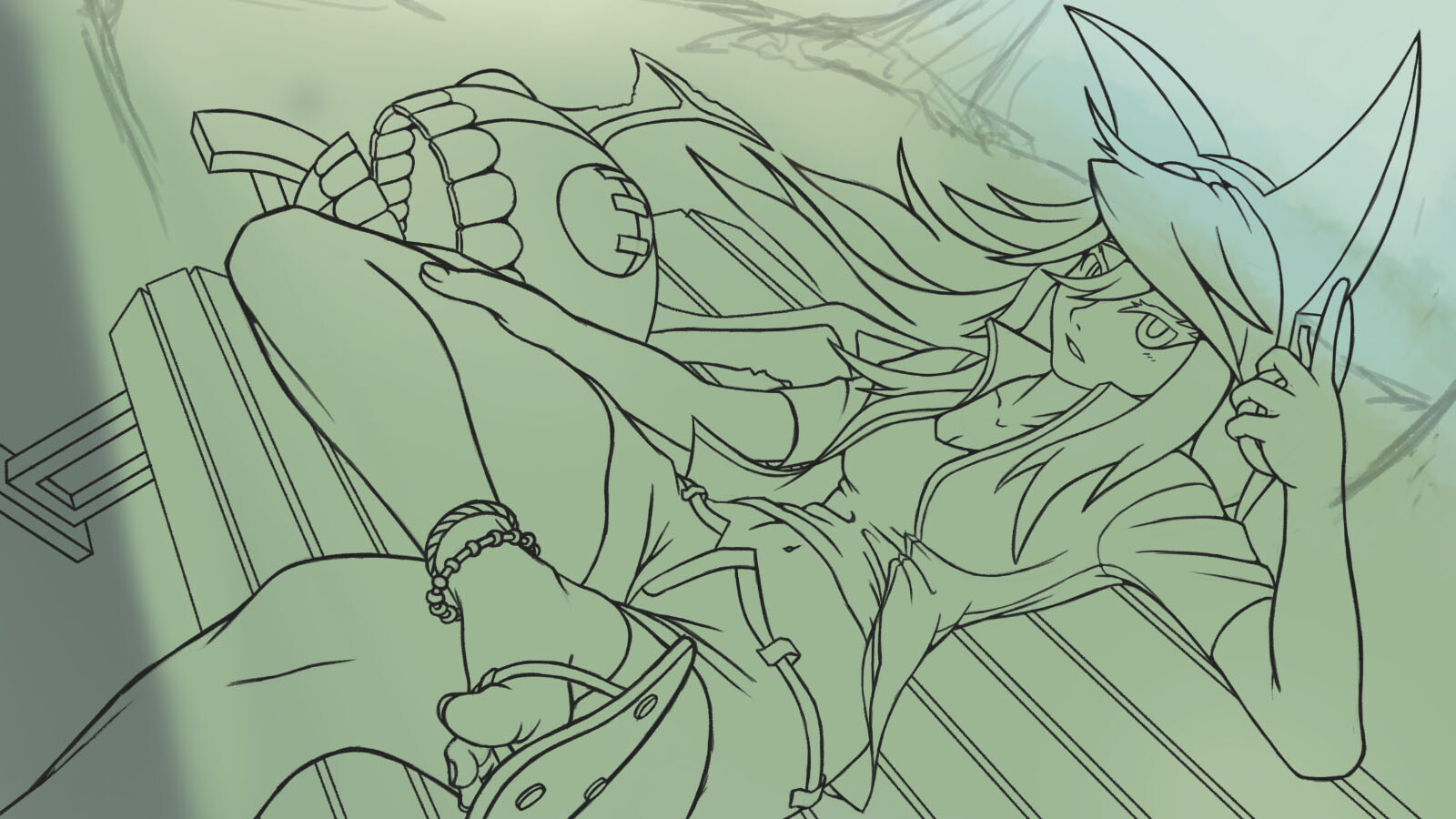 Process #3: Lineart and setting background color/tone.