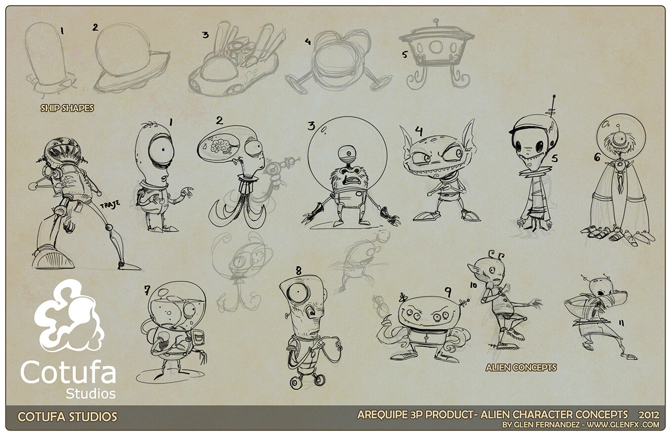 Additional concepts for the Alien Character as well as ship shapes.
