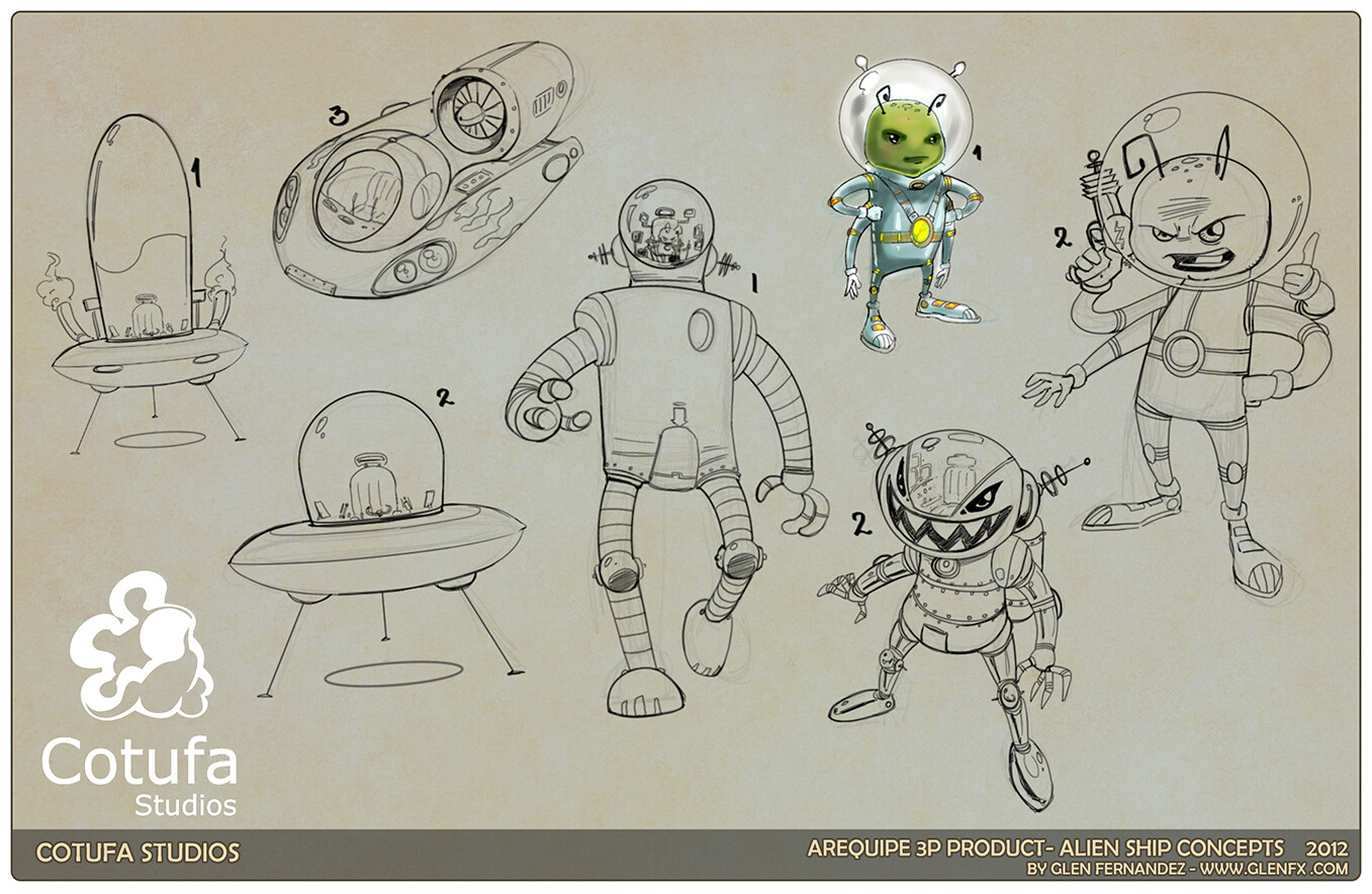 Additional concepts for the Alien Character as well as ship.