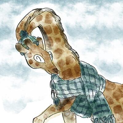 Miriam gibson giraffe wearing a scarf