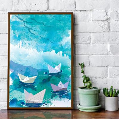 Rajesh r sawant boats in rain mockup