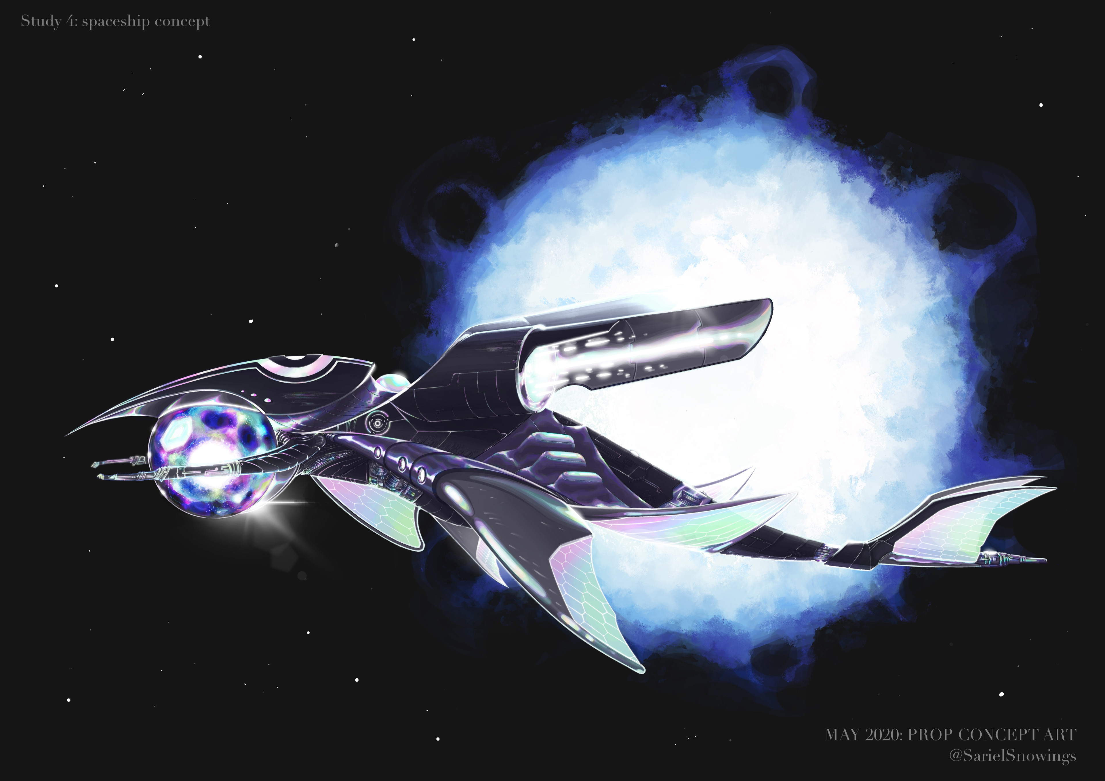 Final rendered illustration concept of the spaceship.