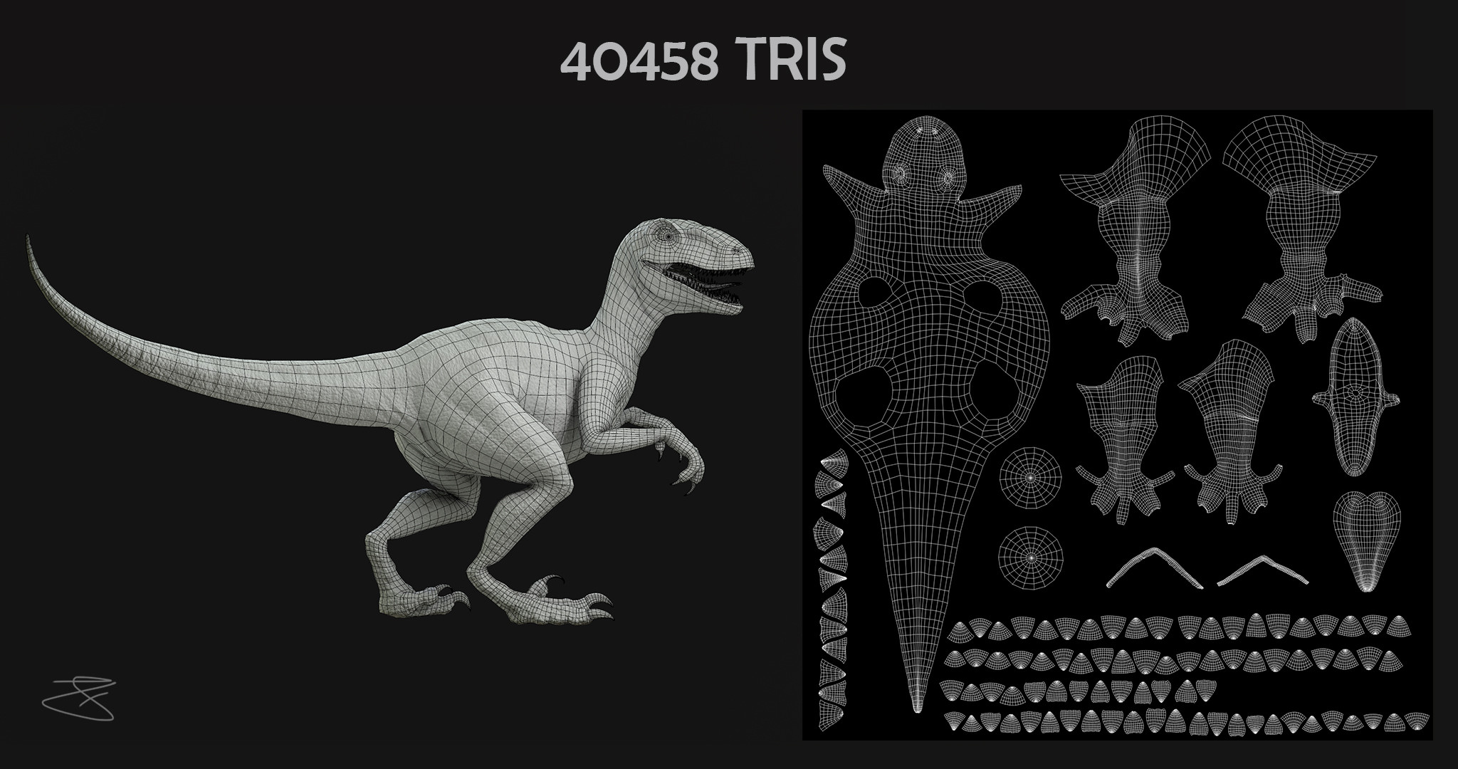 UV Layout and Poly Count Velociraptor