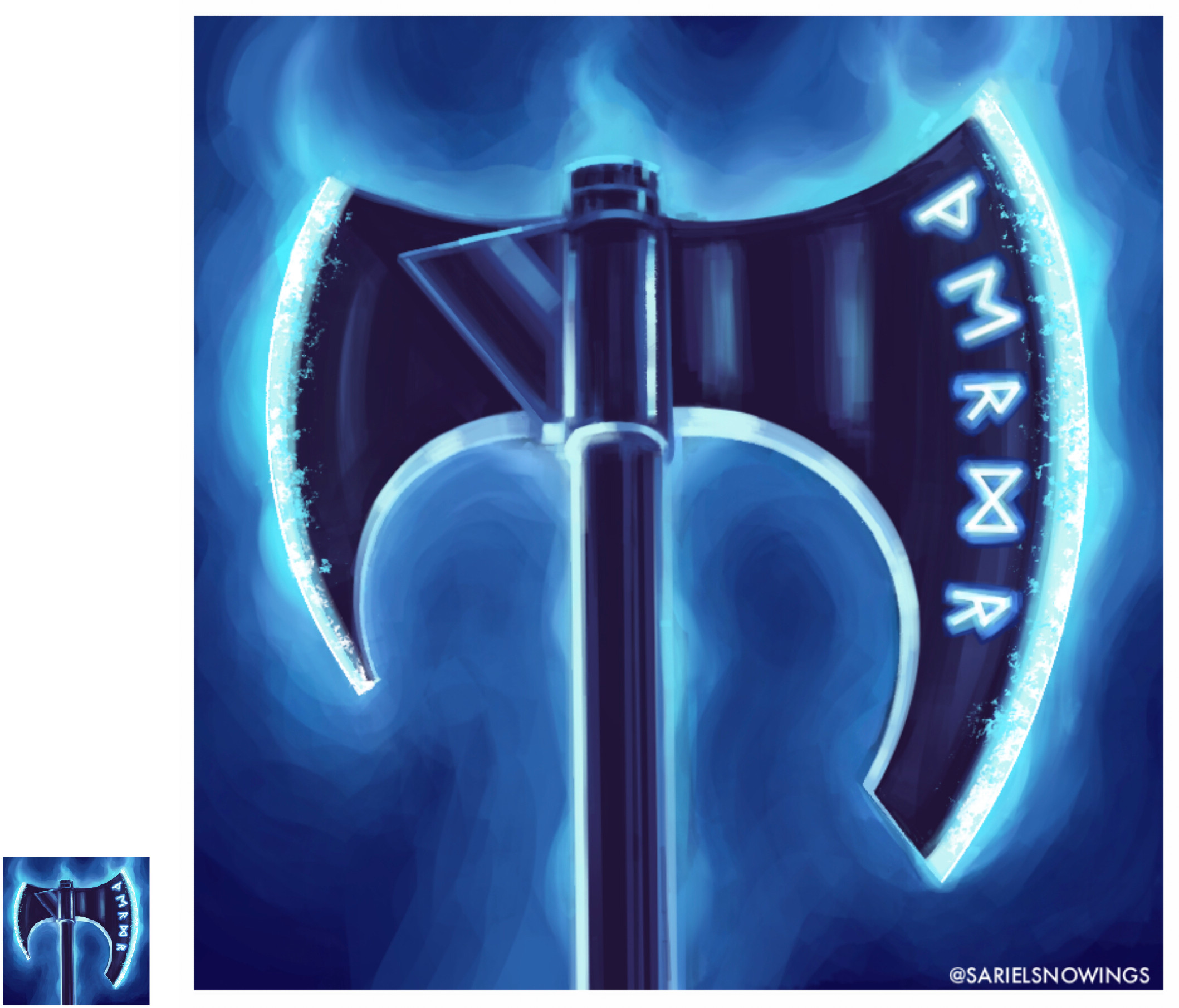This is one of my favourite weapon icons I've made, I really like the runes against the dark metal and the cool steam flowing from the blades representing the ice powers of this axe.