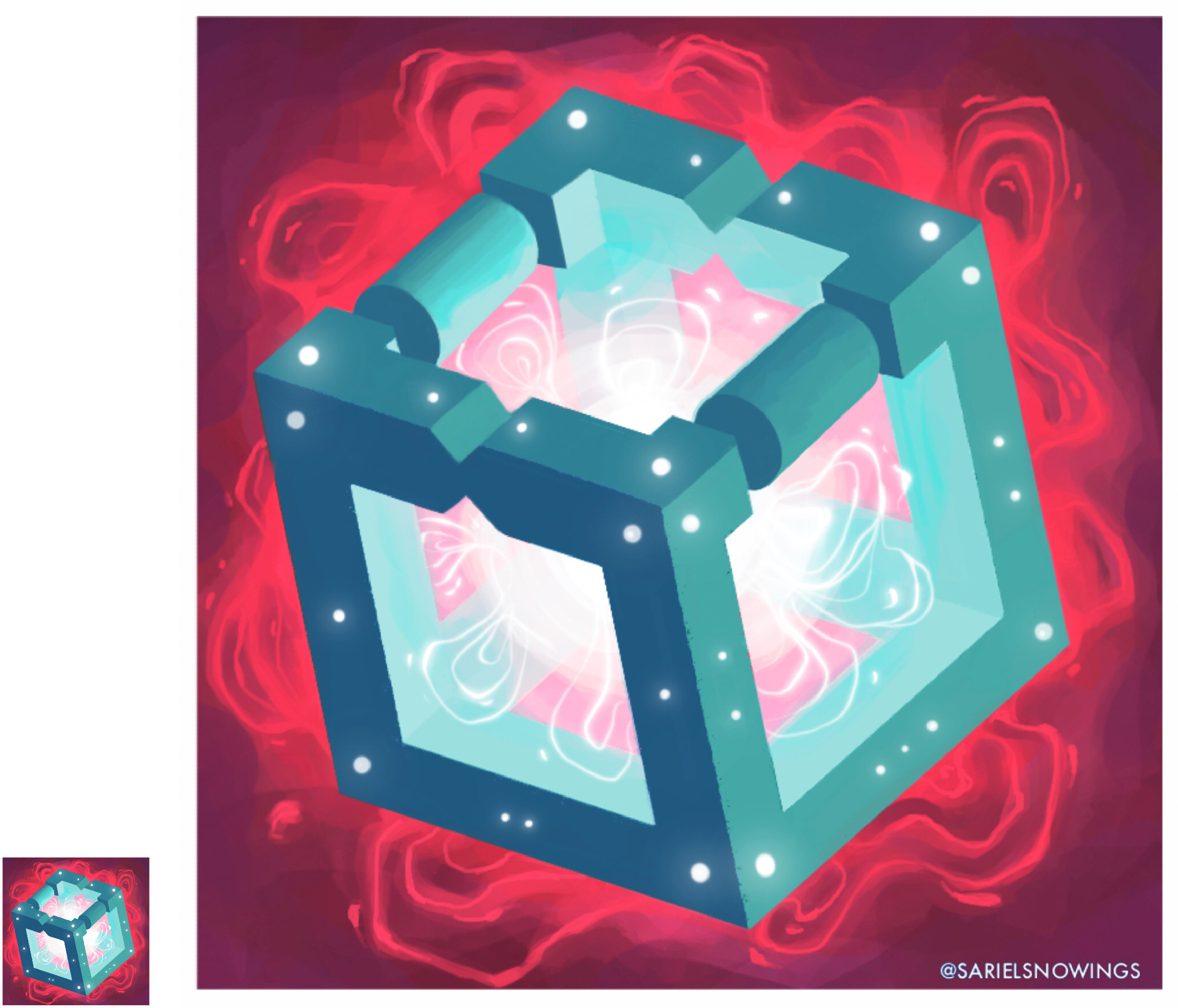 Tried to practise magical items with this enchanted cube. I also quite like the colour combination!