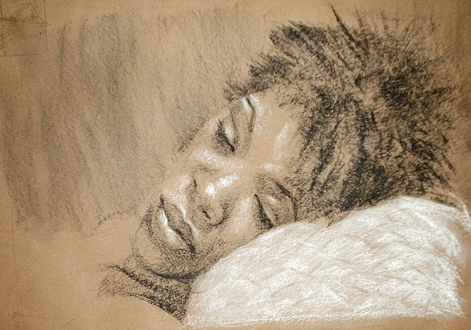 'mile: B&W conte crayon and chalk on kraft paper