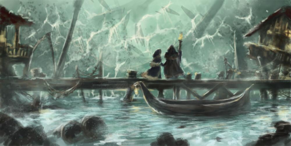 The great flood reaches the Angrath harbor.