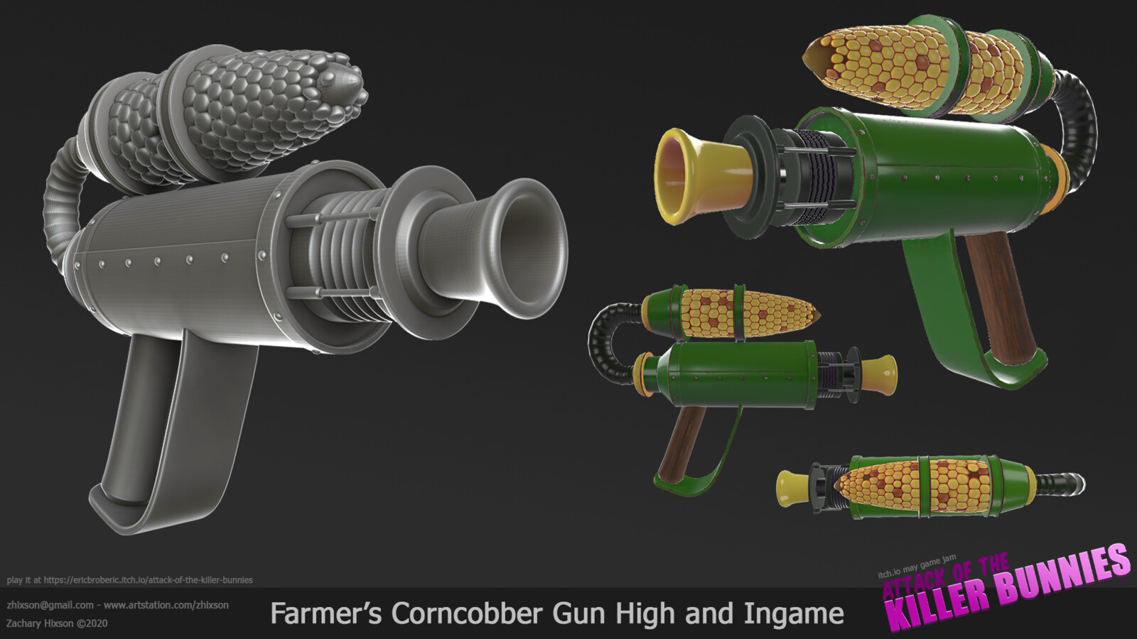 The farmer's weapon: The Corncobber. Yes, it grinds up an ear of corn and shoots the kernels at things. High and low were created in 3DS Max and texturing was done in Substance Painter
