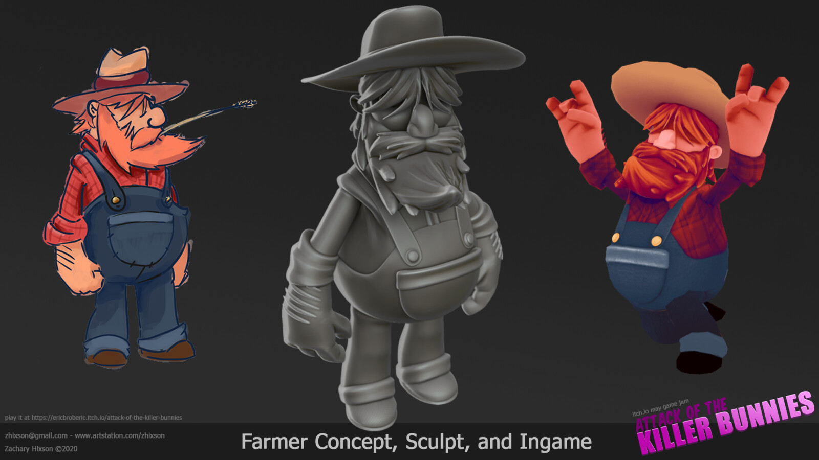 This is the player character. I drew the concept (bleh), sculpted the character in ZBrush, did the retopo in 3D-Coat, and texturing was done in Photoshop. The rigging and animation came from Mixamo.