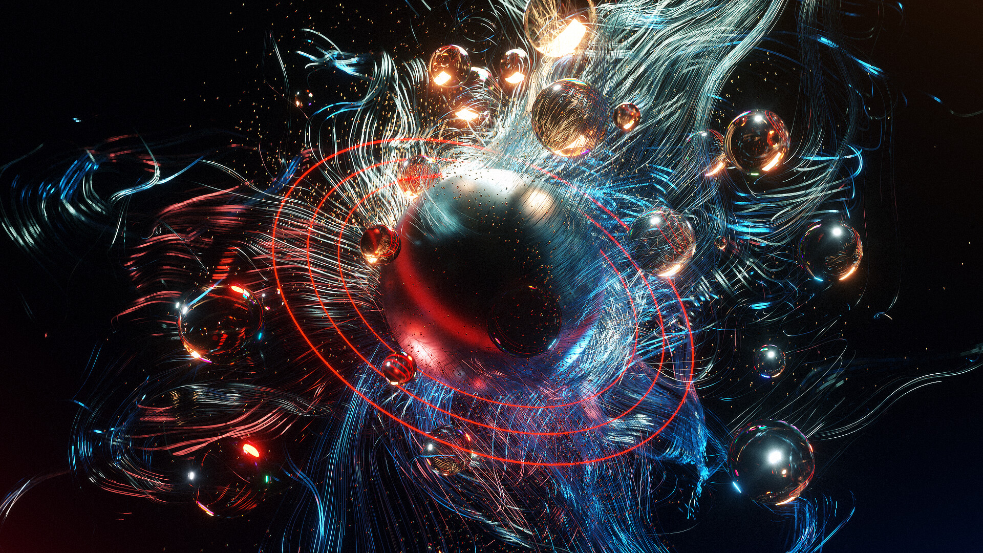 Test image establishing workflows between Modo and Blender's particle systems