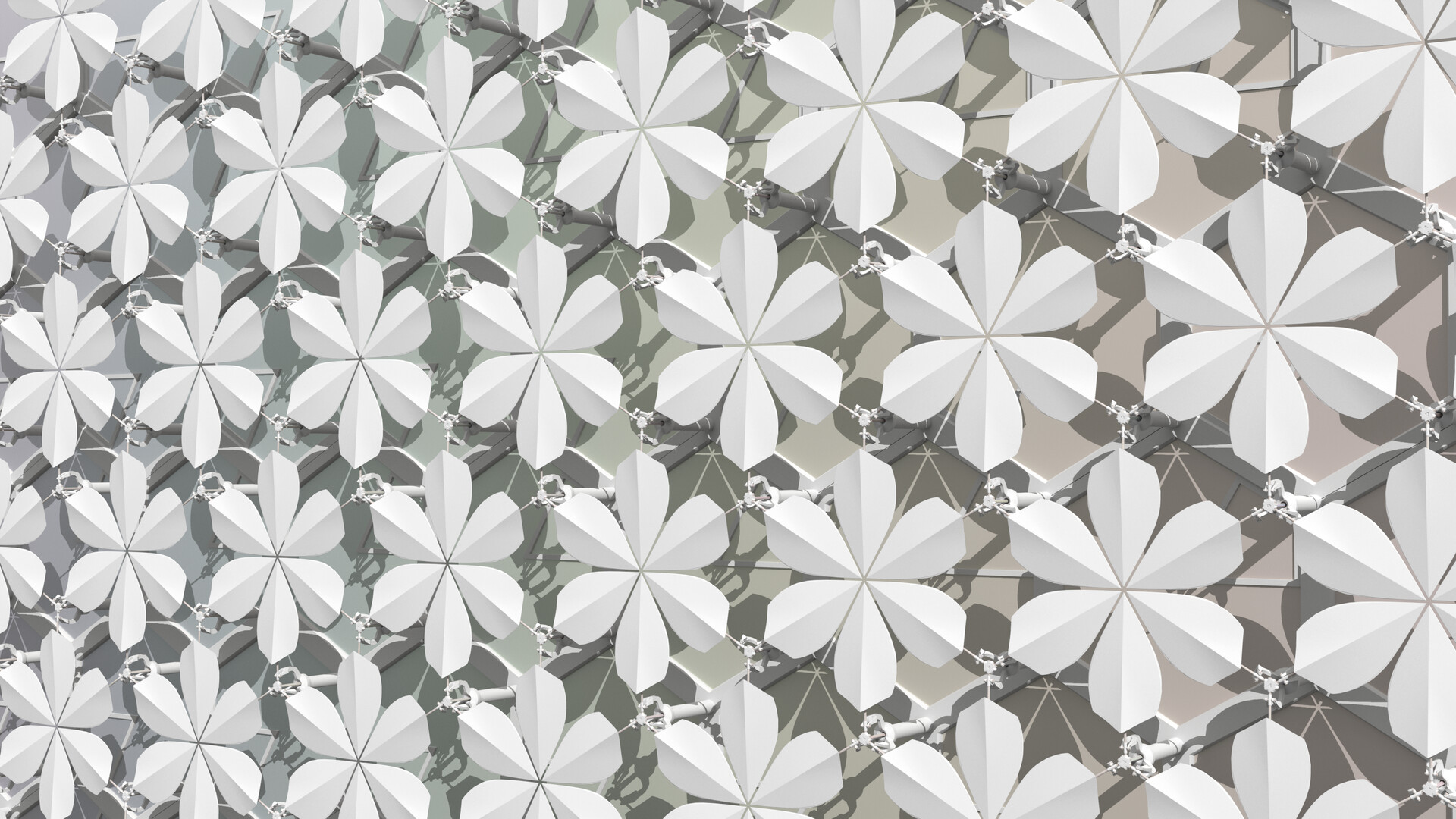 Flower scales 60º alignment: full shading over hexagonal static façade; on discovering that to avoid interference I needed to trim the back edges, I decided to consciously invoke biomorphic influences for both fit and æsthetics - I love this result.