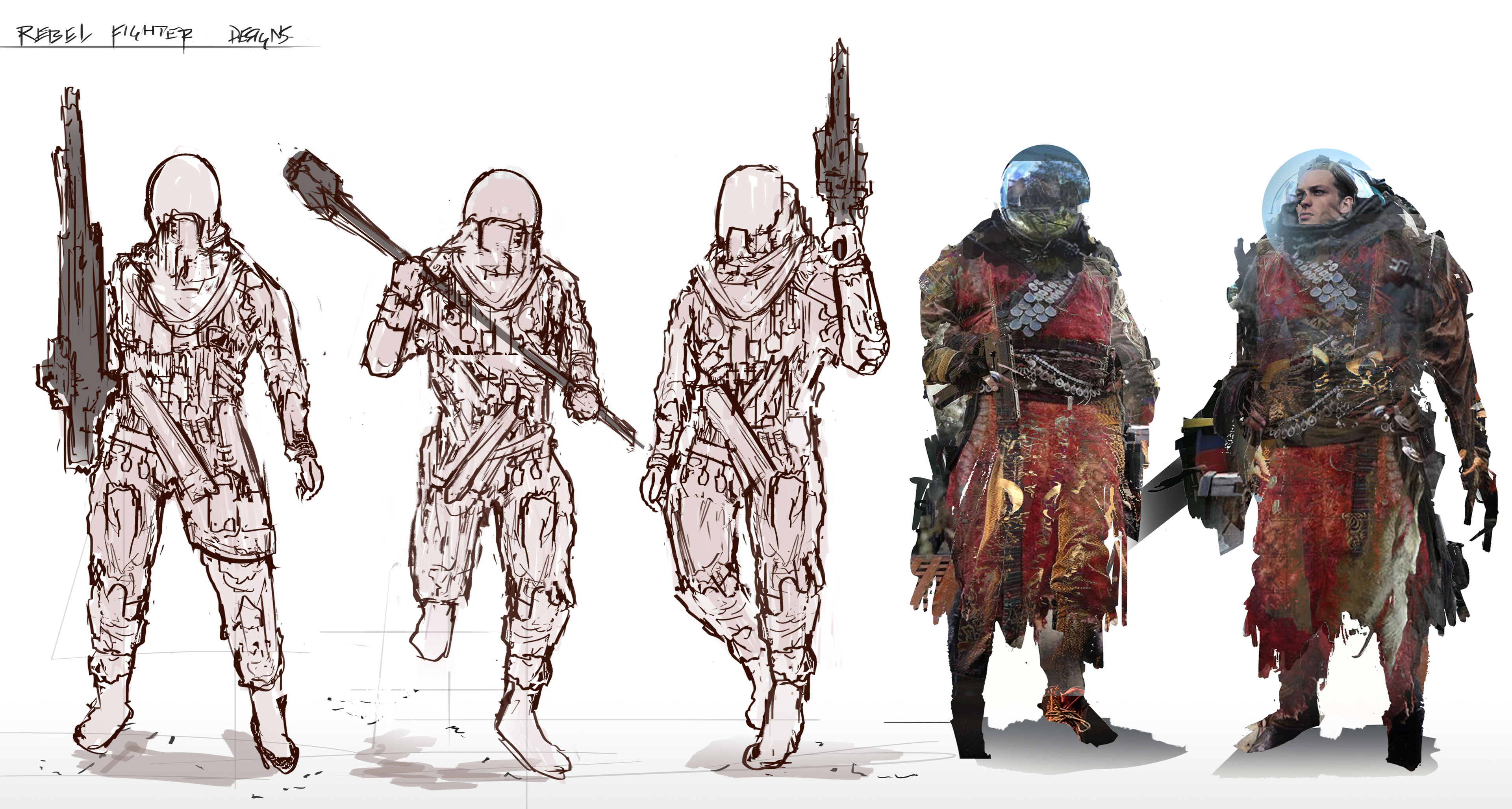 Initial character designs for the rebel faction