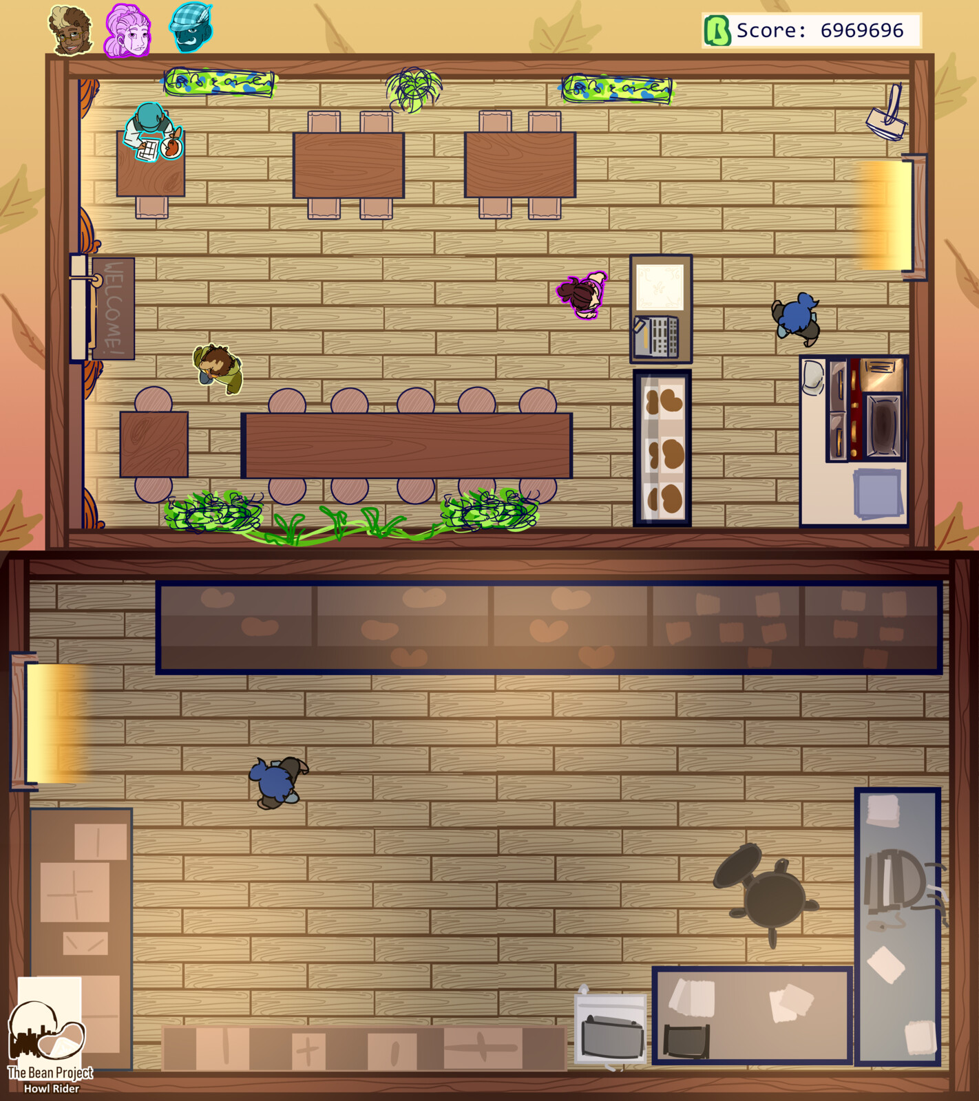 Initial concepts of play screen and back room, where you could buy new machines.